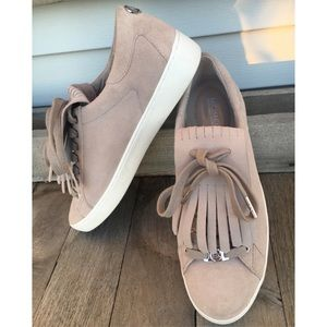 MICHAEL KORS Taupe Suede Fringe Sneakers Size 9.5